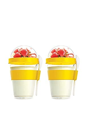 asobu Set of 2 YO2GO Yogurt Containers, Yellow