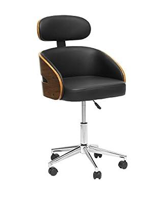 Baxton Studio Kneppe Office Chair, Black/Walnut/Chrome