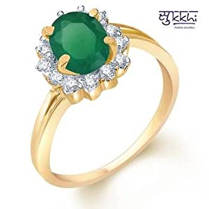 Rings - Sukkhi Gold and Rodium plated CZ Studded Emerald Ring