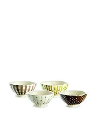 Rae Dunn by Magenta Set Of 4 Assorted French Latte Bowls, White