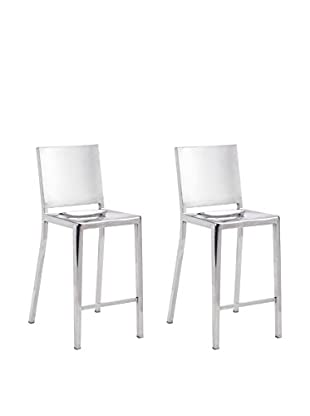 Zuo Set of 2 Fall Counter Chairs, Polished Stainless Steel