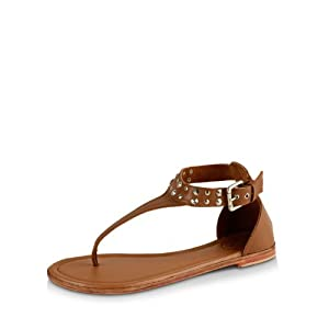 Melissa Odabash Studded Gladiator Flats - Tan