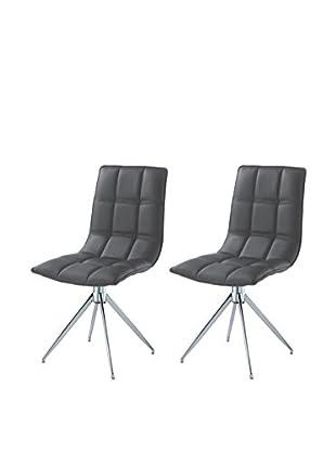 Whiteline Apollo Set of 2 Swivel Dining Chairs, Gray