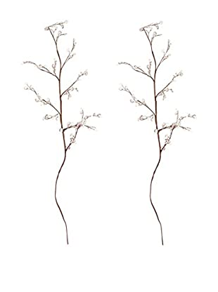 Set Of 2 Movable Bejeweled Twigs, Brown/Clear