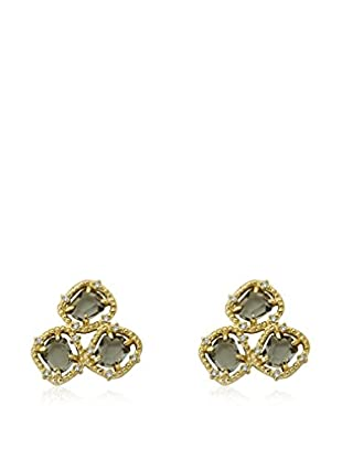 Riccova Sliced Black Glass Cluster Earrings with CZs