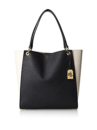 LAUREN Ralph Lauren Women's Aiden North/South Tote, Ivory/Black
