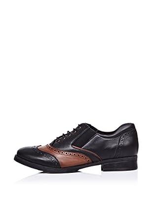 Ziya Zapatos Oxford Picados (Negro / Marrón)