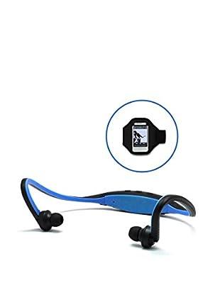 Unotec Auricular Deportivo Bluetooh Azul Con Brazalete Para Smartphone
