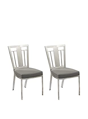 Armen Living Cleo Set of 2 Contemporary Dining Chairs, Gray