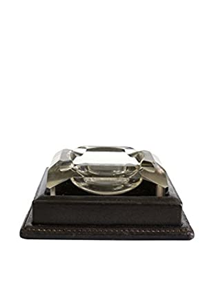 Gucci Glass and Leather Ashtray, Clear/Brown