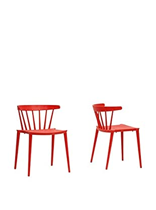 Baxton Studio Set of 2 Finchum Plastic Dining Chairs, Red