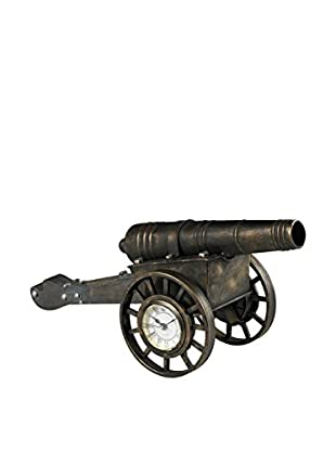 Cannon Desk Clock, Blackened Iron