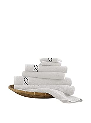 Luxury Home 6-Piece Egyptian Cotton Embroidered Chain Towel Set, White