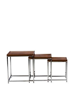 Baxton Studio Adelina 3-Piece Wood Top Base Nesting Table Set, Brown/Chrome
