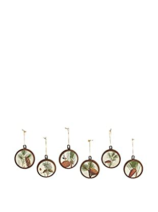 Napa Home & Garden Set of 6 Lodge Pine Tree Ornaments, Natural