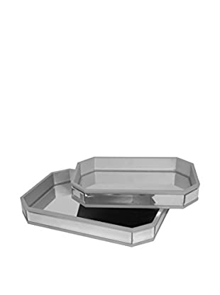 Three Hands Set of 2 Beveled Mirrored Trays