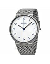 Skagen Ancher Silver Dial Stainless Steel Mesh Mens Watch Skw6163