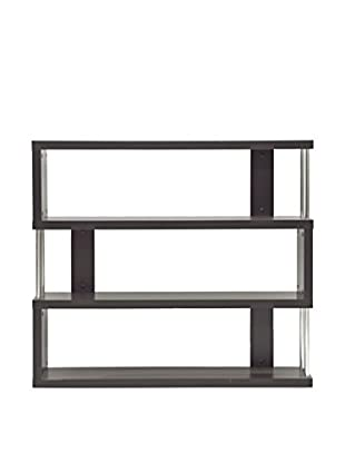 Baxton Studio Barnes 3-Shelf Bookcase, Dark Brown