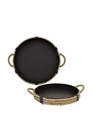 The Import Collection Set of 2 Chincea Rope Trays, Black/Tan