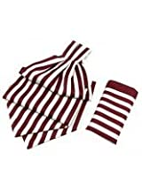 Burgandy With White Candy Strip Cravats With Pocket Square