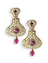 Golden N Mauve Stone Dangler Earrings