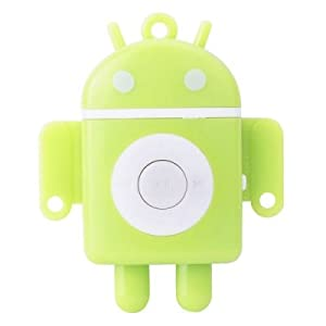 Android Robot USB Rechargeable MP3 Player with Micro SD/TF Card Slot - Green