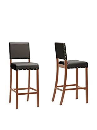 Baxton Studio Set of 2 Walter Modern Bar Stools, Dark Brown