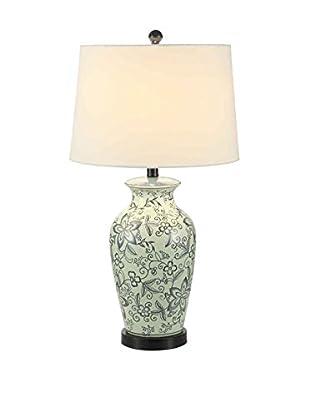 Fox Hill Trading Ceramic Flora Table Lamp, Blue/White