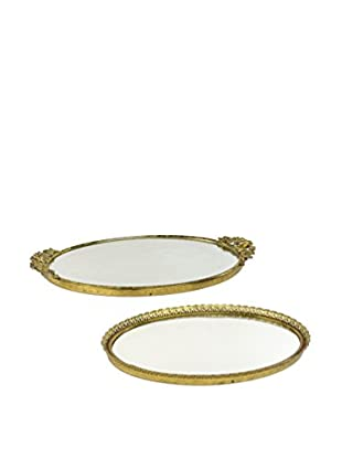 Uptown Down Previously Owned Set of 2 Mirrored Trays