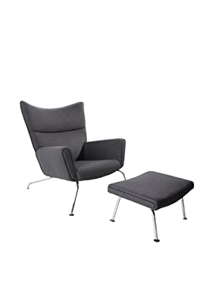Manhattan Living Wing Chair and Ottoman Set, Gray