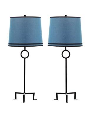 Safavieh Set of 2 Shotwell Table Lamps, Black/Blue