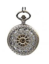 Steampunk Vintage Hollow Cover Analog Skeleton Hand Winding Mechanical Pocket Watch for Men