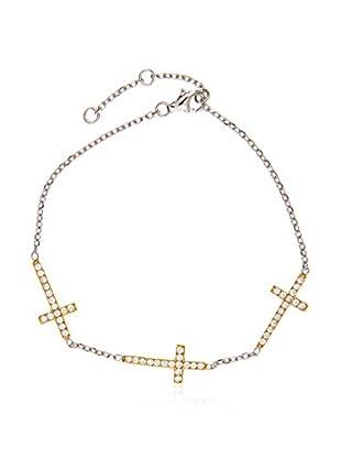 My Silver Pulsera Trío de Cruces en oro