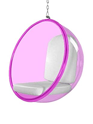 Manhattan Living Pink Bubble Hanging Chair, White