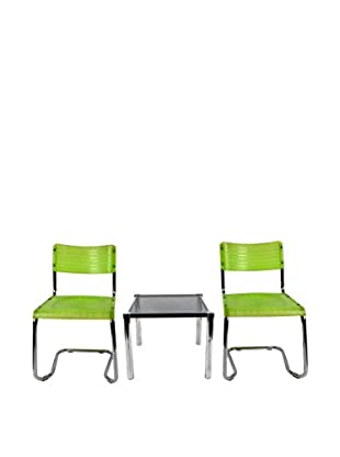 Uptown Down Previously Owned 3-Piece Green Plastic Chairs & Metal Table Set