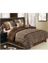 7 Pcs Animal Zebra Giraffe Soft Micro Fur Chocolate Brown Beige Comforter Set Queen Size