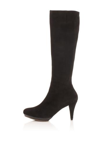 Pura Lopez Women's Suede Platform Boot (Black)