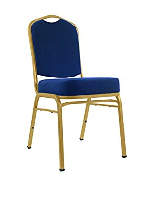 Deluxe Padded Metal Poker Chair, Blue