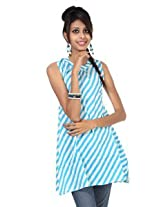 Rajrang Cotton Kurti - PTP00081 (White And Sky Blue)
