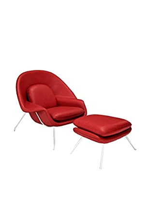 Modway W Leather Lounge Chair (Red)