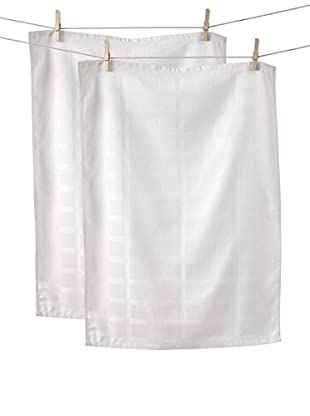 KAF Home Set of 2 Solid Towels, White