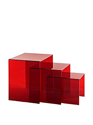IPLEX Couchtisch 3er Set Trix rot