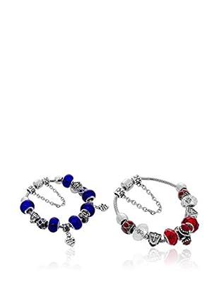 Diamond Style Armband-Set x 3 Ava rot/dunkelblau