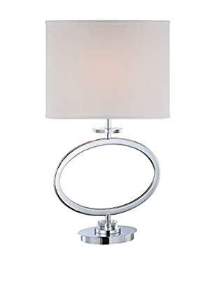 Lite Source Renia 1-Light Table Lamp, Chrome/Crystal/Off-White