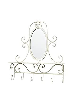 Three Hands Metal Wall Mirror with Hooks