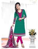 Saara Green And Pink Printed Dress Material - 139D109