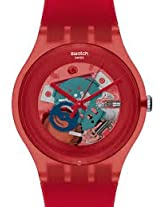 Swatch Red Lacquered SUOR101 Red Round Dial Analogue Watch - For Women