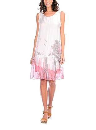 Silk Vestido Seda Blanco / Rosa ES 50