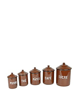 Uptown Down Vintage Canisters, Brown/White