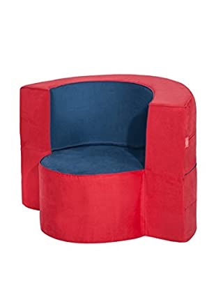 Best seller living Sillón Puff Mini Macaron Azul/Rojo